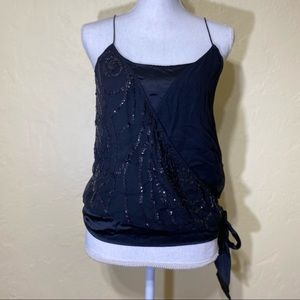 Banana Republic Sequined Black Silk Top